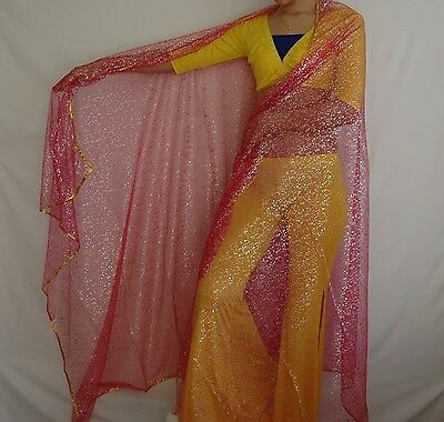 New Belly Dance Chiffon Scarf Veil Gold Deluxe Trim Edge 4 colors