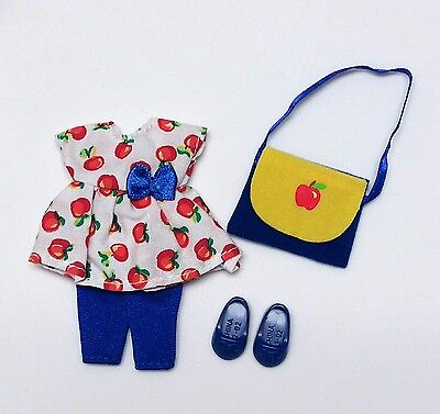 Vintage Barbie Kelly Doll Clothes Apple Dress Blue Pants Purse Shoes Mattel New