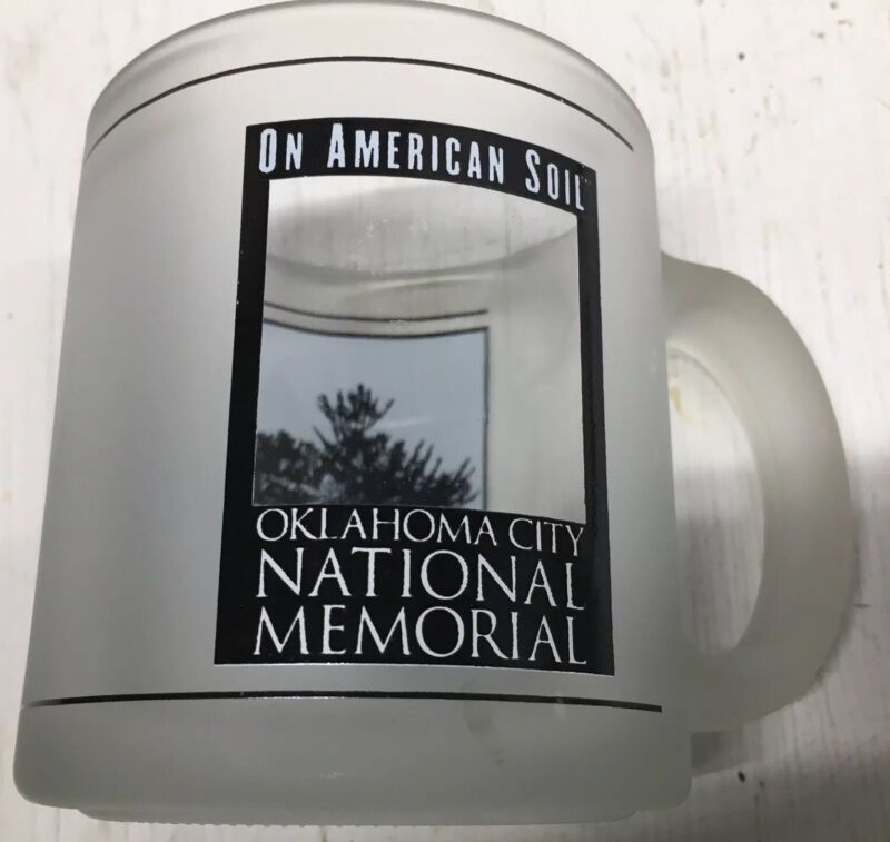 """Oklahoma City National Memorial Coffee Mug""""On American Soil""""Frosted Glass Cup"""