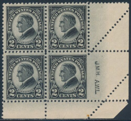 #610 Var. Blk/4 Engravers Initial Foldover Error Rare Imperf Margin Bt433