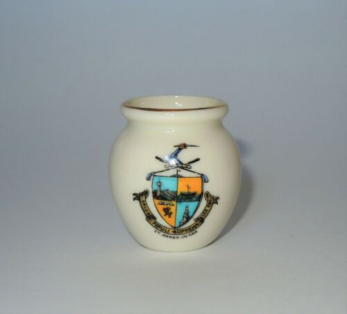 W. H. GOSS Crested Heraldic China Mini Miniature Model of Urn St. Annes-On-Sea