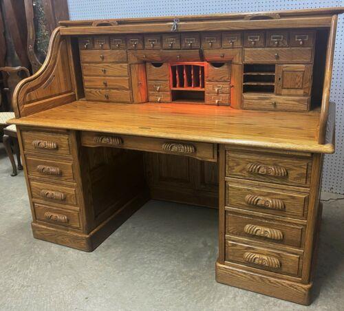"Vintage Beautiful American 66"" Oak Crest S Curve Golden Oak Roll Top Desk"