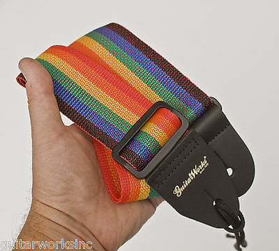 Rainbow Guitar Strap For Acoustic & Electric Quality Nylon & Leather Made In USA