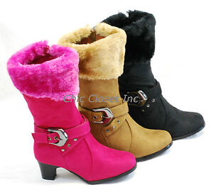 NEW Girls Mid Calf High Heel Faux Fur Boots Suede JR Kids Zipper ...