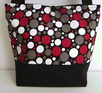 Fashion Polka Dot Tote - BLACK RED GRAY POLKA DOT HANDBAG PURSE TOTE BAG POCKETBOOK RETRO MOD FASHION
