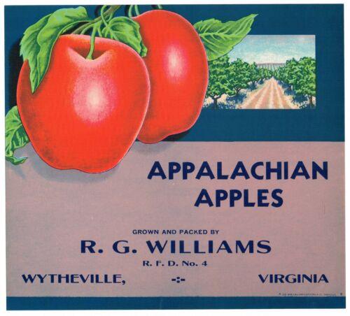 ORIGINAL APPLE CRATE LABEL VIRGINIA VINTAGE 1930S APPALACHIAN WYTHEVILLE SCARCE