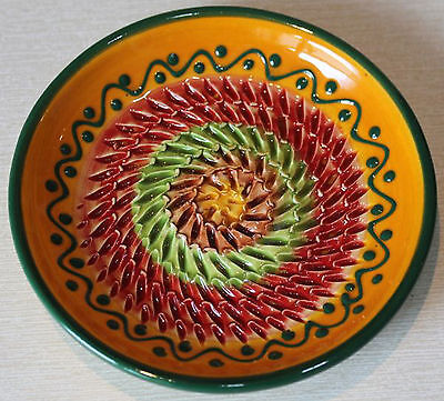 Reibeteller, Keramik, Handarbeit,Motiv:Mediterran,mehrfarbig,Käse Knoblauch etc.