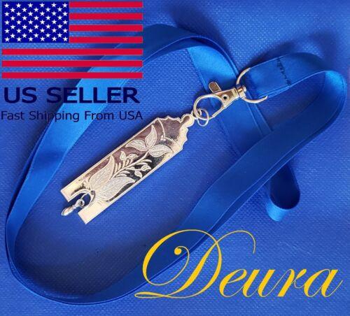 Masonic Collar SILVER Jewel  JUNIOR WARDEN with Blue NECK Strap by DEURA USA