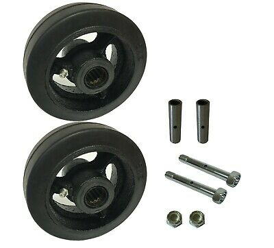 2 Caster Wheels Set 4 5 6 8 Rubber On Cast Iron Wheel Set With Bearing Kit