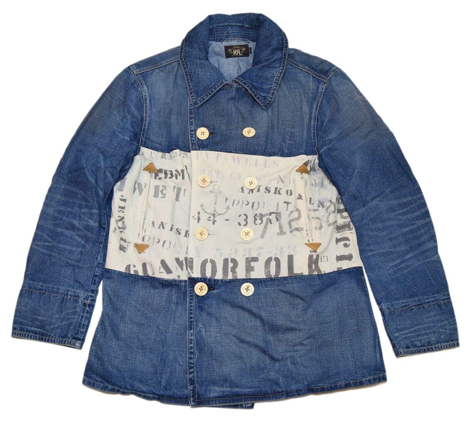 995-ralph-lauren-rrl-mens-nautical-peacoat-denim-jacket-pea-coat-usa-blue-large