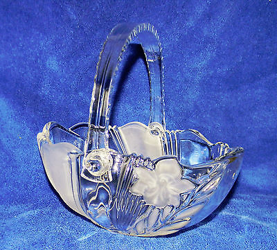 "Beautiful 4"" Tall Handled Glass Basket ~ Clear & Frosted ~ Acrylic Handle ~ MINT"