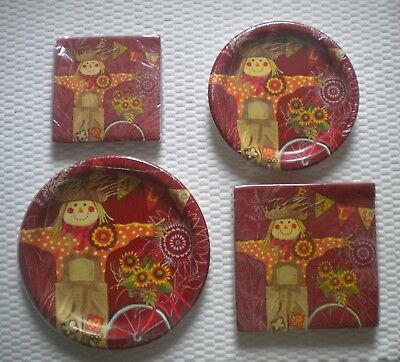 Fall Themed Paper Plates (Fall Scarecrow Theme Paper plates Lunch Cocktail Napkins U Pick quantity style)