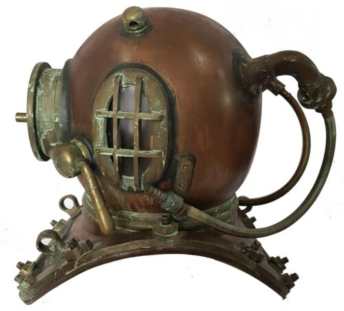 "18"" Antique Patina Finish Mark V US Navy Deep Sea Diving Helmet Nautical Maritim"