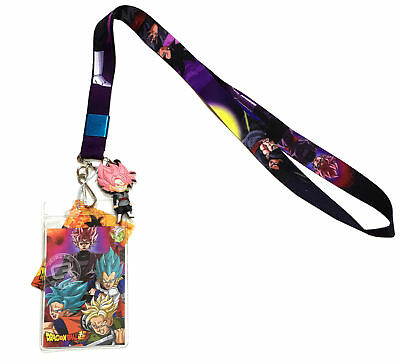 Dragon Ball Super Goku Black Saiyan Rose Lanyard ID Holder & PVC Charm Official