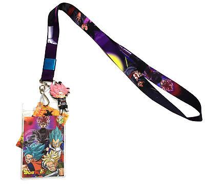 Dragon Ball Super Goku Black Saiyan Rose Lanyard Id Holder   Pvc Charm Official