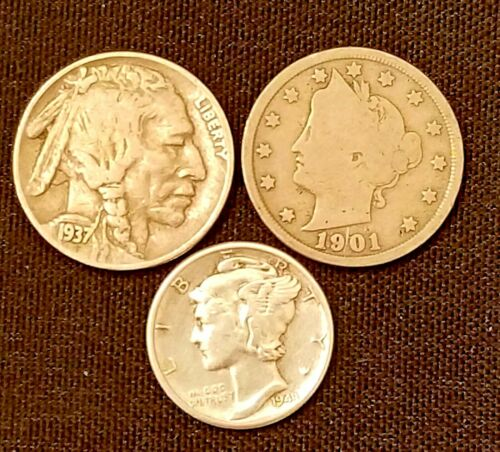 Old US Coins Starter Collection Lot of 3 Rare US Coins.