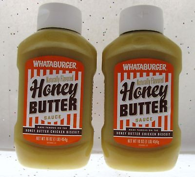 Whataburger Honey Butter Sauce 16Oz Bottle   Famous Chicken Biscuit   Lot Of 2