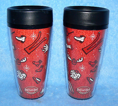 2 Seattle's Best Coffee ThermoServ. 14 oz Red Christmas Sweater Travel Tumblers