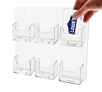 Business Card Holder Clear Acrylic Vertical 6 Pocket Wall Mount Qty 6