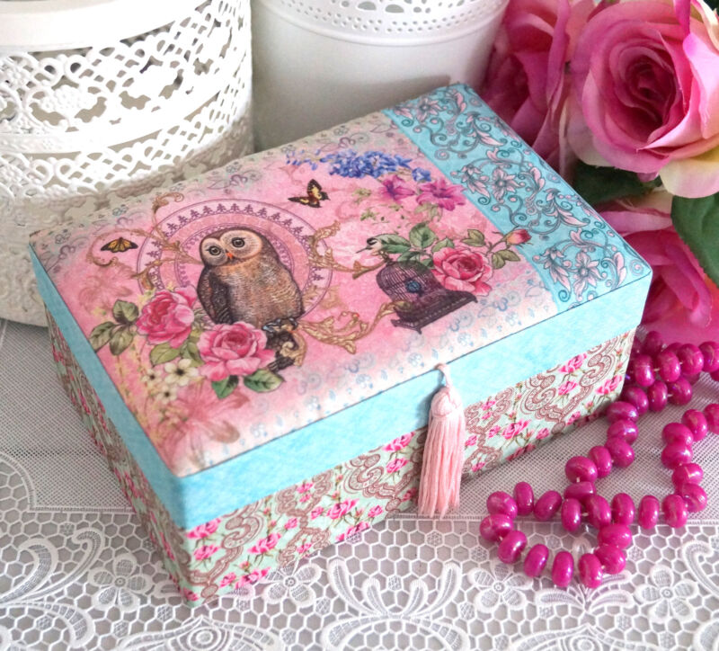 Schmuckkasten Schmuckkästchen Schmuckkoffer Schmuckschatulle rosa Mädchen Kinder Türkis L