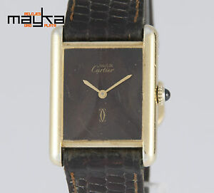 Cartier-Tank-Must-de-Silver-925-Plaque-or-G-20M-Chocolate-Dial