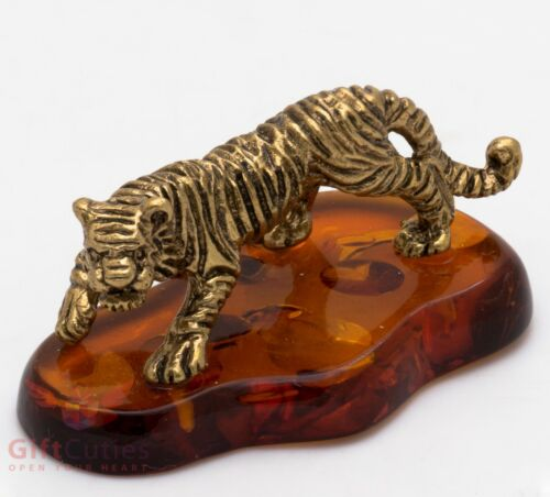 Solid Brass Amber Figurine of Tiger IronWork