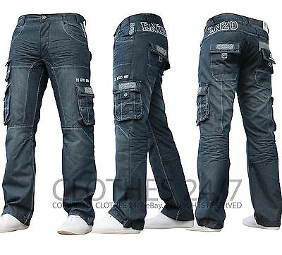 New Mens Enzo Designer Dark Cargo Combat Denim Jeans Pants All Waist Leg Sizes