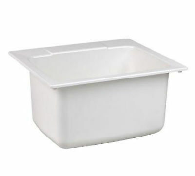 Mustee White Self Rimming Drop In Laundry Utility Room Sink Wash Basin Bowl Tub