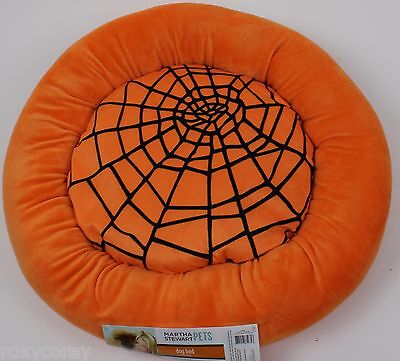 Martha Stewart Pets Round Orange Spider Web Bolster Small Dog Bed 20x20x5 NWT