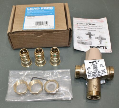 """Watts Mixing Valve LFMMVM1-UT-PRESS, 1/2"""" Press Inlet/Outlet, 0.5-12GPM, 150 PSI"""