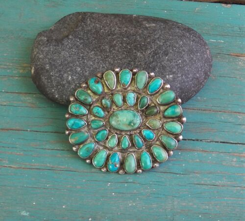 Old Vintage Native American Silver Blue Green Turquoise Cluster Pin Brooch