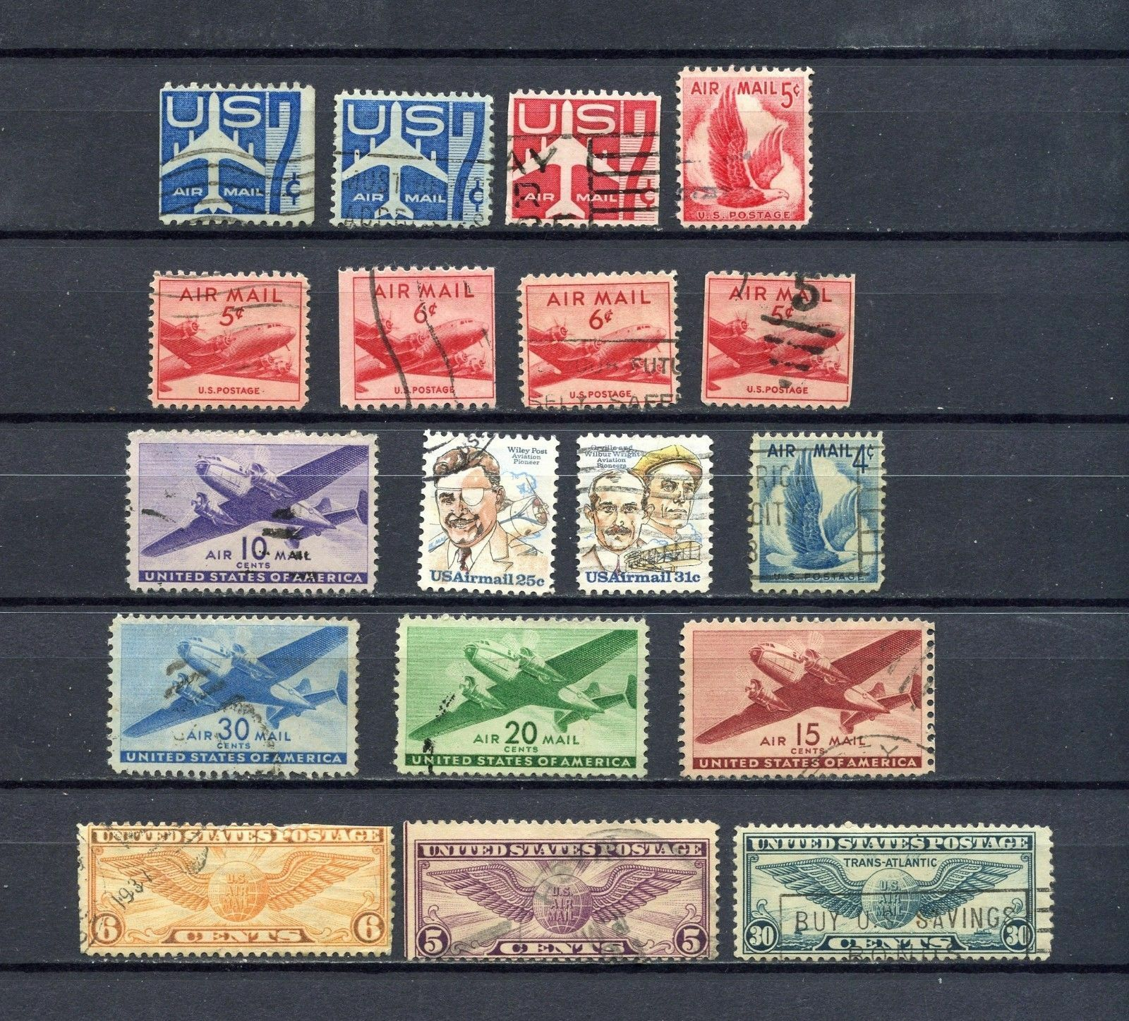 LOT OF 18 USED AIRMAIL STAMPS - PLEASE SEE PHOTO'S  - IN EXCELLENT CONDITION