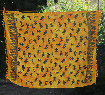 SARONG Australia-Style orangetöne Echse Gecko Cicak Sarung Pareo Wickeltuch Bali
