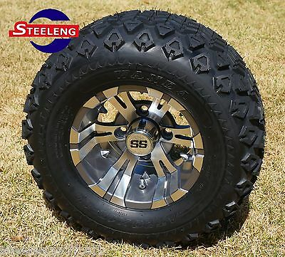 "GOLF CART 10""  GUNMETAL VAMPIRE ALUMINUM WHEELS and 20"" AT TIRES (SET OF 4)"
