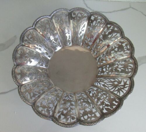"""ANTIQUE CHINESE EXPORT STERLING SILVER OPEN WORK BASKET BOWL 12""""- 490 grams"""