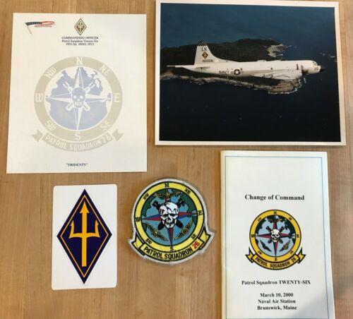VP-26 TRIDENTS NAVY P-3 ORION, PATROL SQUADRON PATCH STICKER PHOTO LTR CHG CMD
