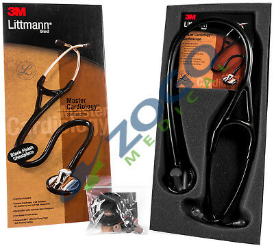 Littmann Master Cardiology Stethoscope 27 - Black Plated Chestpiece Ear Tubes