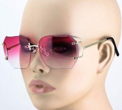 RIMLESS VINTAGE RETRO Colored Lens EYE GLASSES Oversized sun (Coloured Lens Glasses)