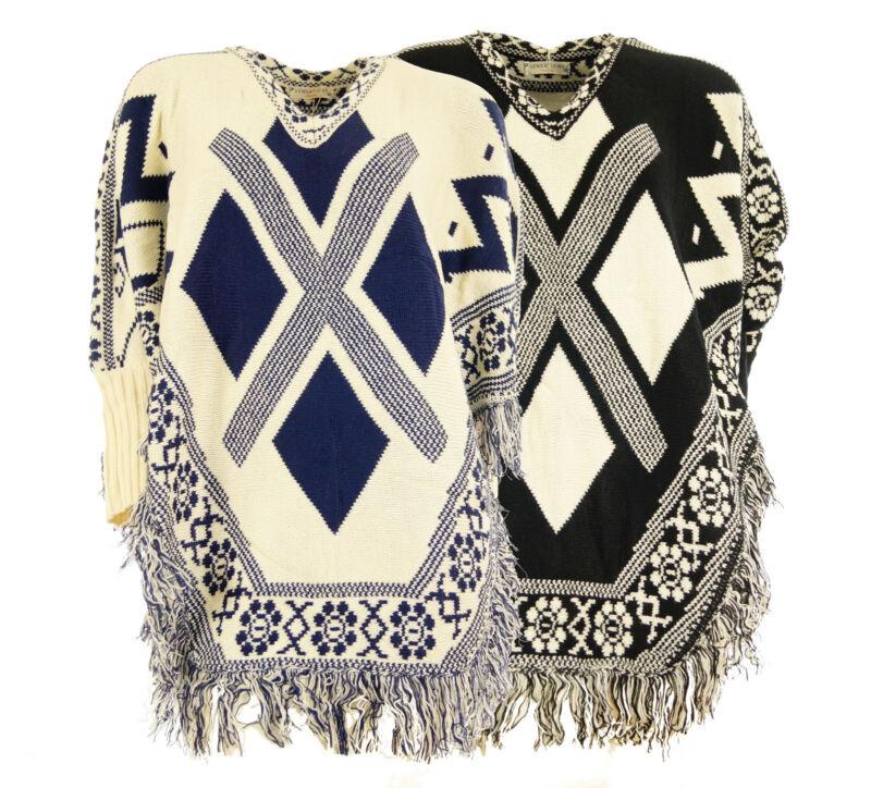 Damen Poncho Pullover Azteken Strickpullover Longpullover Fransen mit Ärmeln