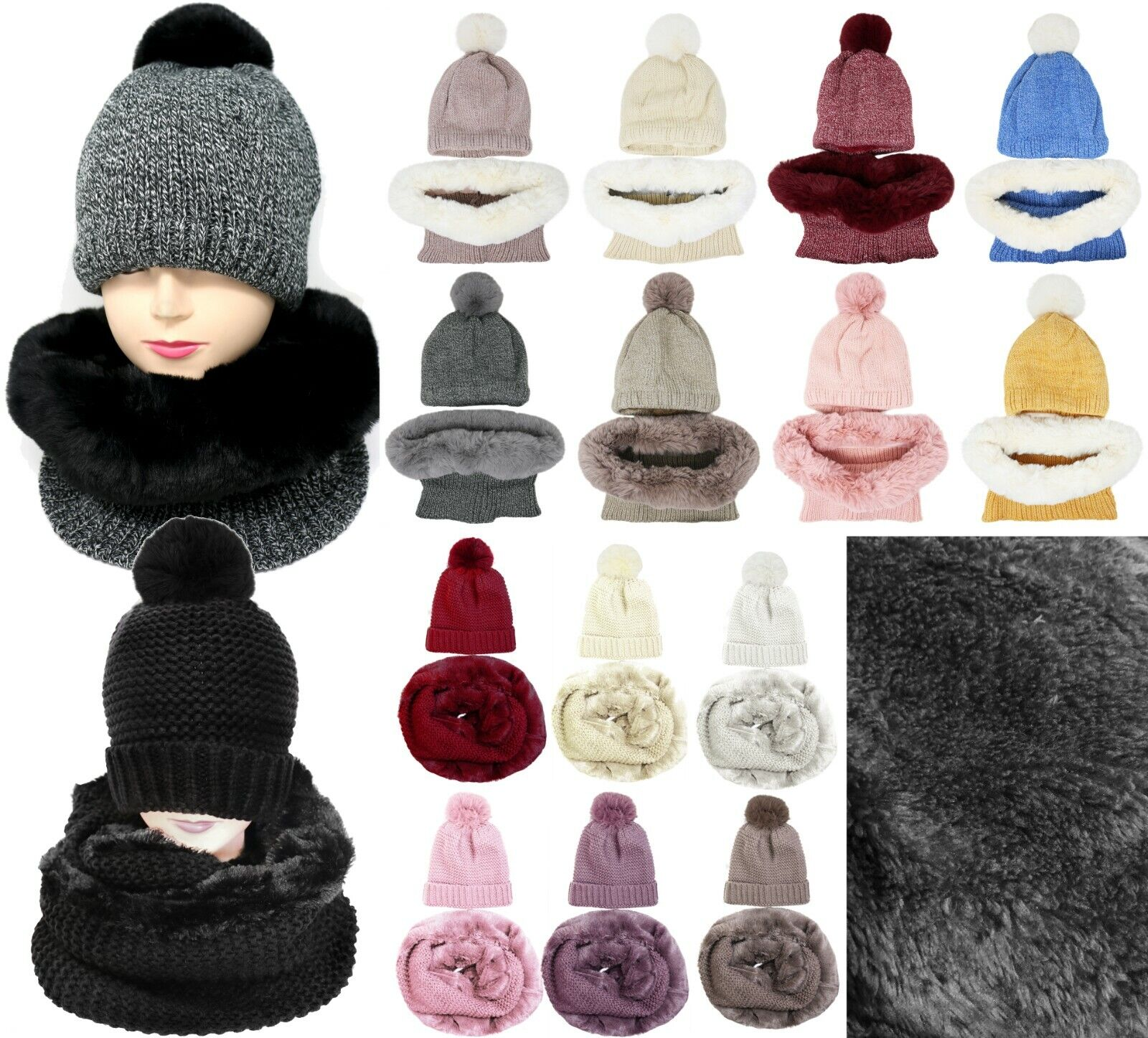 Thick Winter Knit Lined Pom Pom Hat and Faux Fur Infinity Scarf Set Accessory Sets