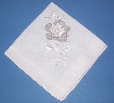 Vintage Silver Sparkle Embroidered White Rose Hankie Bride Wedding Handkerchief