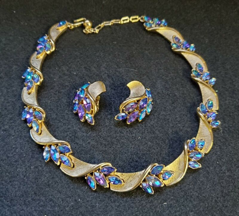 Crown Trifari Necklace Earring Set Blue Rhinestone Jewels Fantasy