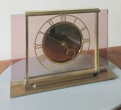 Vintage English Unique  Art Deco Brass and Pink Glass Clock by Smiths