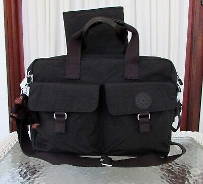 Kipling New Baby L Diaper Bag Travel Commuter Briefcase School Black Nylon NWT