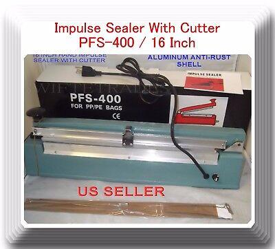 16 Pfs400c Hand Impulse Sealer With Cutter 2 Heating Element 2 Ptfe Sheet
