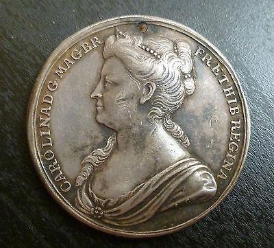 Queen Caroline Official Silver Coronation Medallion 1727 By Croker Rare