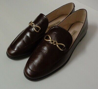 ZARA Women's Basic Collection Brown Leather Loafers Size 39 US Size 81/2