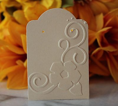 25pc. Cream Floral Earring Cards Jewelry Cards Craft Show Retail Display Cards