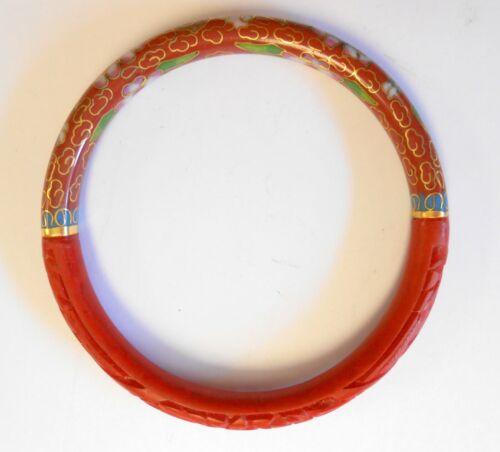 Lovely Carved Cinnabar & Cloisonne Bangle Bracelet Flower Motif