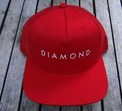 NEW DIAMOND SUPPLY CO. SCRIPT RED MENS SPORT TRUCKER MESH SNAPBACK HAT RHTDAM-45 (Diamond Trucker Hat)